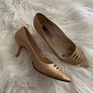 Jimmy Choo kitten heal snake nude pump